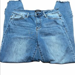 Earl blue jeans with raw hem skinny ankle size 10